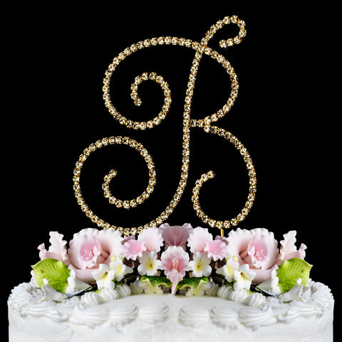Renaissance ~ Gold Plated Individual Letter Inital Crystal Bridal Wedding Cake Toppers