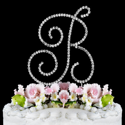 Renaissance ~ Silver Plated Individual Letter Inital Crystal Bridal Wedding Cake Toppers