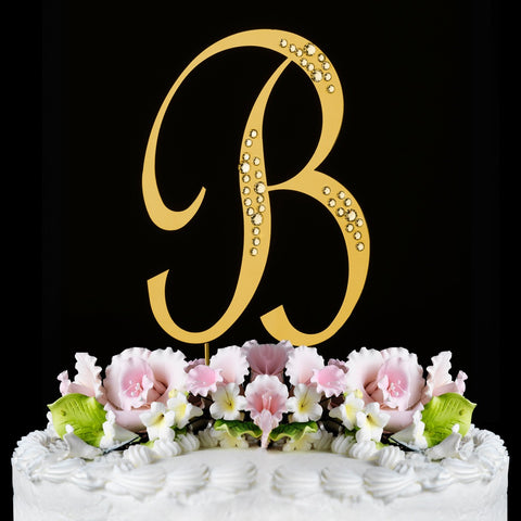 Sparkle ~ Gold Plated Individual Letter Inital Crystal Bridal Wedding Cake Toppers