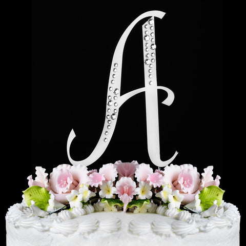 Sparkle ~ Silver Plated Individual Letter Inital Crystal Bridal Wedding Cake Toppers