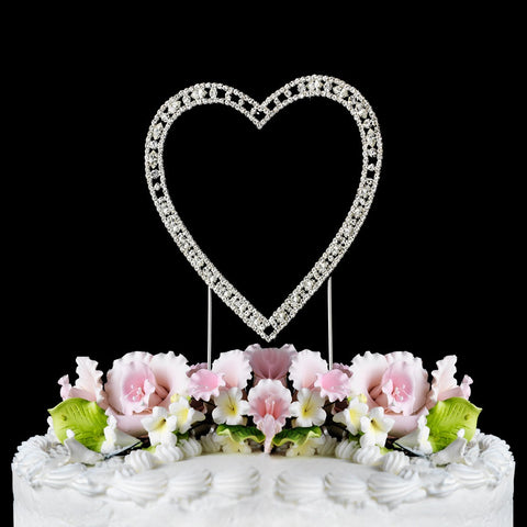 Silver Plated Crystal Wedding Heart Cake Toppers