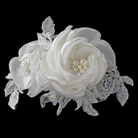 Ivory Satin Lace Tulle Rose Bridal Wedding Hair Clip with Pearl & Rhinestone Accents