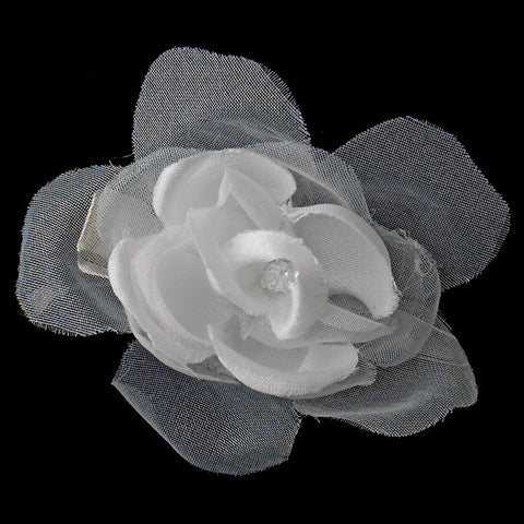 * Petite Organza & Matte Satin Flower Bridal Wedding Hair Clip 2628