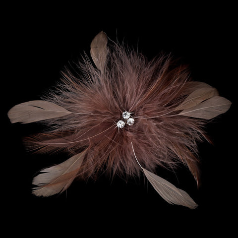 Cafe Brown Feather Fascinator Bridal Wedding Hair Clip or Bridal Wedding Hair Clip Bridal Wedding Brooch 442 ( Many Colors )
