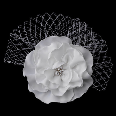 Bridal Wedding Hair Flower with Russian Bridal Wedding Veil Accent Bridal Wedding Hair Clip 477 (White or Ivory)