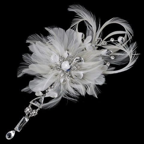 * Vintage Bridal Wedding Feather Bridal Wedding Hair Fascinator with Dangling Crystals Bridal Wedding Hair Clip 8105 with Bridal Wedding Brooch Pin