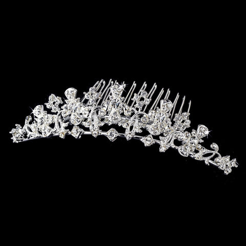 * Headpiece Bridal Wedding Hair Comb 1114 Silver Floral Crystal