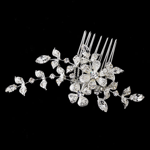 Floral Vine Crystal Bridal Wedding Hair Comb 11145 with Bridal Wedding Brooch Converter