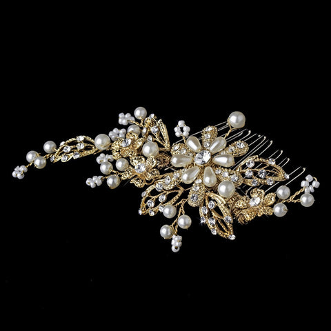 Gold and Ivory Pearl Bridal Wedding Hair Comb 1643