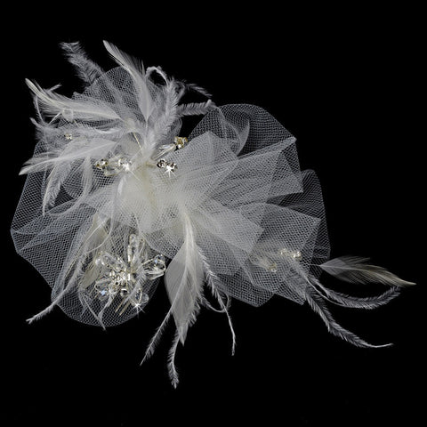 * Luxurious White or Ivory Tulle & Feather Bridal Wedding Hair Comb w/ Austrian Crystals 3201