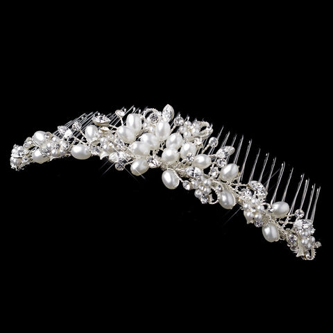 * White Pearl and Crystal Bridal Wedding Hair Comb 4008