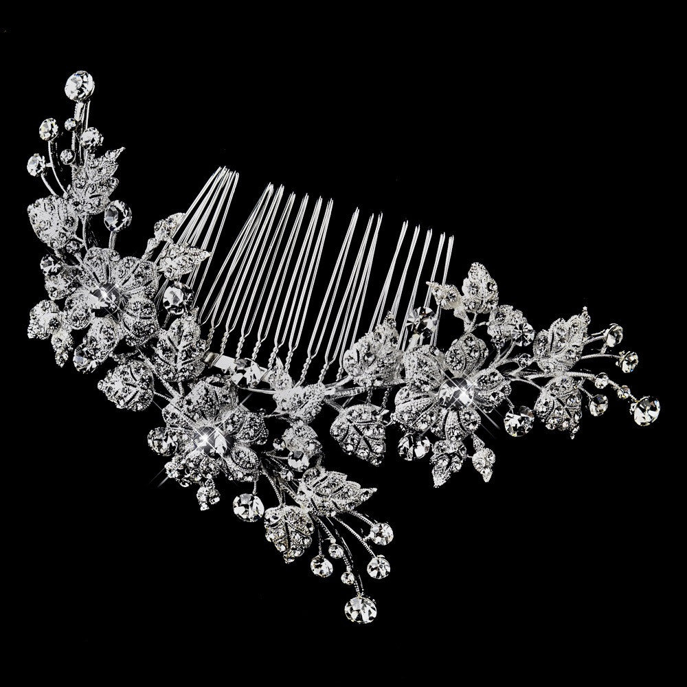 Antique Rhodium Silver Clear Rhinestone Floral Vine Bridal Wedding Hair Comb 4401