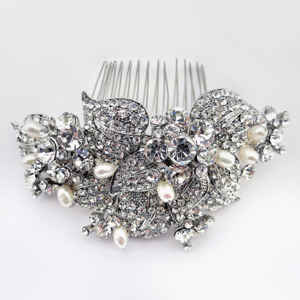 Antique Rhodium Silver Rhinestone & Freshwater Pearl Bridal Wedding Hair Comb 47