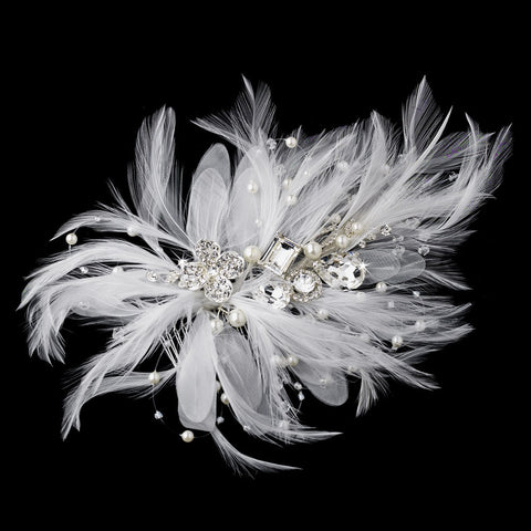 Incandescent Silver Clear Rhinestone & Ivory Feather Bridal Wedding Hair Comb 5552