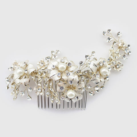 Lt Champagne Gold Plated Rhinestone & Ivory Pearl Floral Bridal Wedding Hair Comb 62