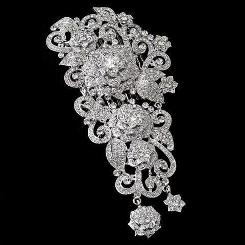 Vintage Silver Clear Rhinestone Bridal Wedding Hair Comb 6546