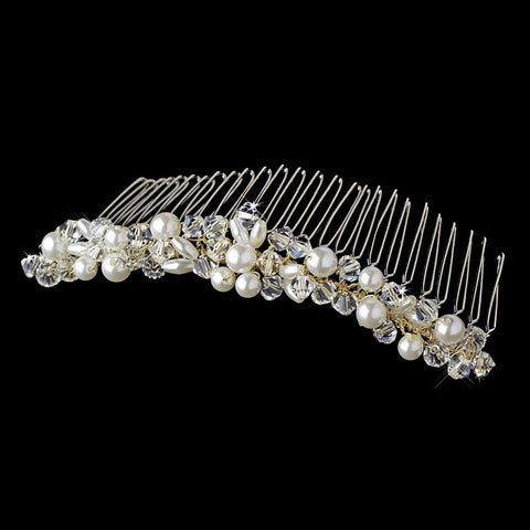 Gold with Ivory Pearls & Crystal Bridal Wedding Hair Comb 7002