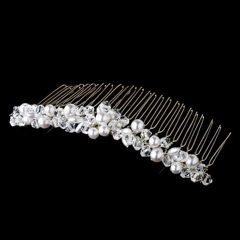 Silver and Ivory Bridal Wedding Hair Comb 7002