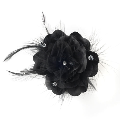 Black Feather Fascinator Bridal Wedding or Special Occasion Headpiece Bridal Wedding Hair Comb 7024