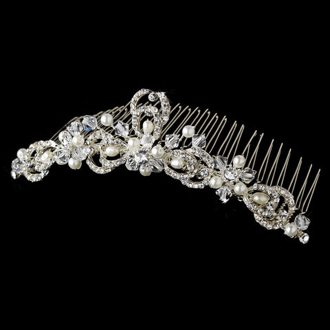 * Pearl & Rhinestone Bridal Wedding Hair Comb 7064