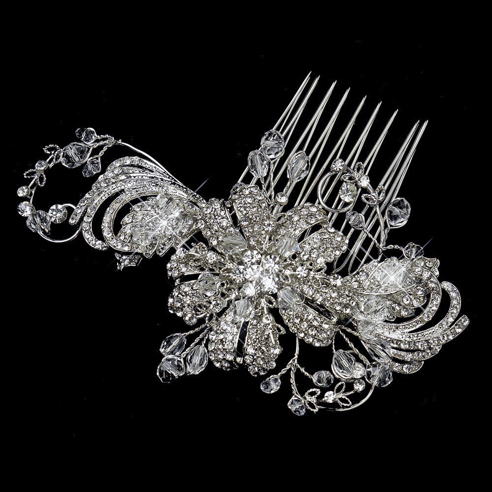 Antique Silver Clear Crystal & Rhinestone Flower Bridal Wedding Hair Comb 763
