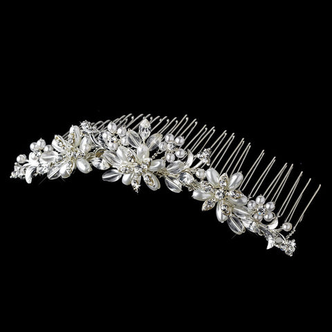 Pearl & Crystal Silver Bridal Wedding Hair Comb 7721 Silver White