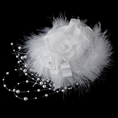 Sex in the City Style Feather Hat Bridal Wedding Hair Comb 7798
