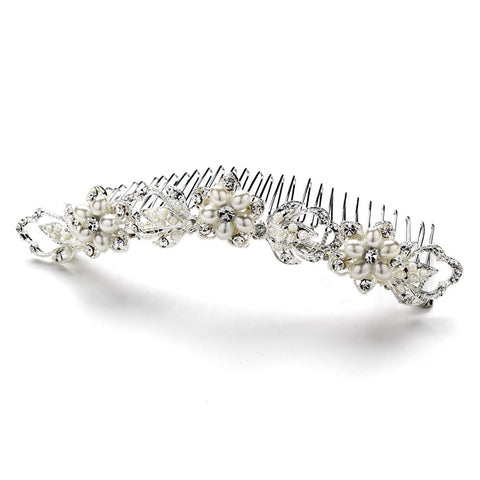 * Elegant Crystal & Pearl Bridal Wedding Hair Comb 7818