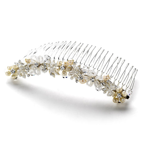 Silver Ivory Pearl and Crystal Bridal Wedding Hair Comb 8001