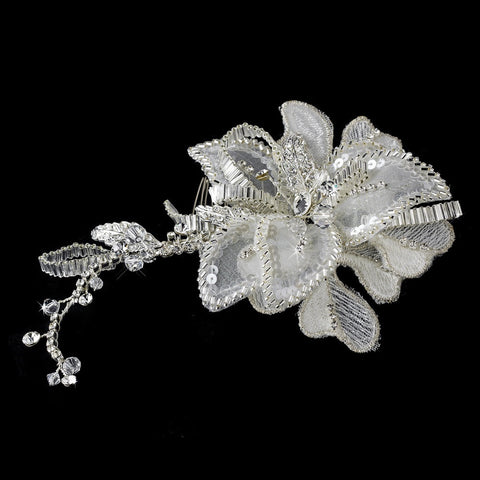 * Vintage Floral Bridal Wedding Hair Comb w/ Swarovski Crystals 8119
