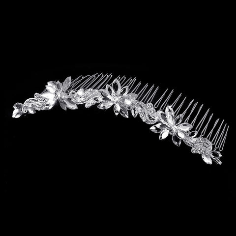 * Fabulous Silver Clear Swarovski Crystal Floral Bridal Wedding Hair Comb 8251