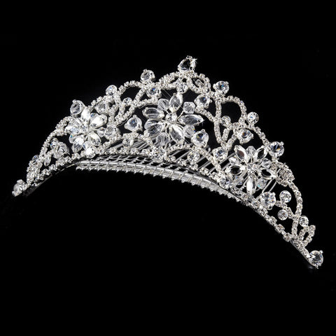 * Floral Silver Clear Swarovski Crystal Bridal Wedding Tiara Bridal Wedding Hair Comb 8252