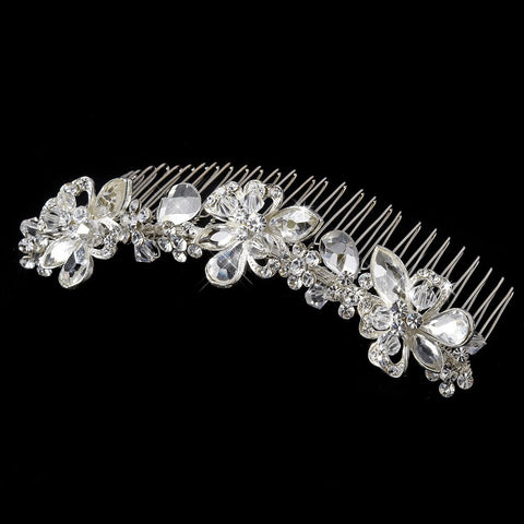 * Charming Floral Silver Clear Swarovski Crystal & Rhinestone Bridal Wedding Hair Comb 8257