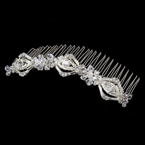 * Magnificent Silver Bridal Wedding Hair Comb w/ Rhinestones & Swarovski Crystals 8272