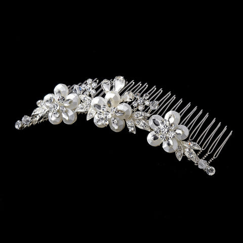 * Exquisite Silver Floral Bridal Wedding Hair Comb w/ Swarovski Crystals & Clear Rhinestones 8274