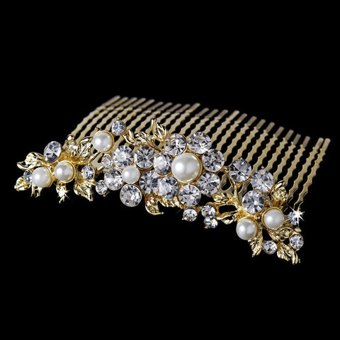Marvelous Gold Floral Bridal Wedding Hair Comb w/ Clear Rhinestones & Ivory Pearls 8280