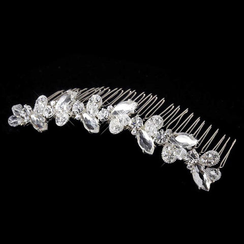 * Beautiful Silver Clear Rhinestone & Swarovski Crystal Flower Bridal Wedding Hair Comb 8311