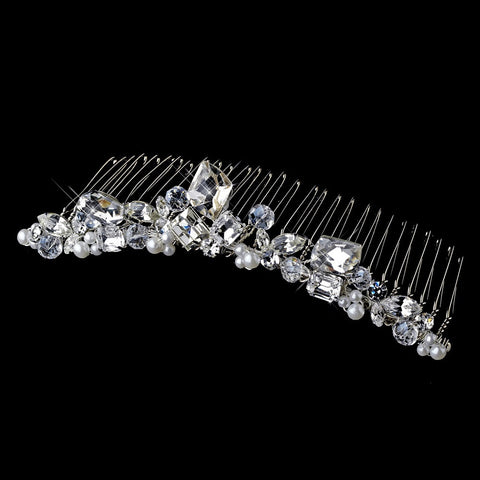 * Silver Princess Rhinestone & Pearl Bridal Wedding Tiara Bridal Wedding Hair Comb 8394