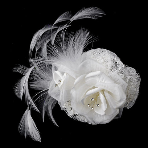 Precious Ivory or White Lace Flower Bridal Wedding Hair Clip or Bridal Wedding Hair Comb w/ Rhinestones & Feathers 8993