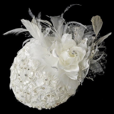Extraordinary Ivory Flower & Feather Hat Headpiece Bridal Wedding Hair Comb 909
