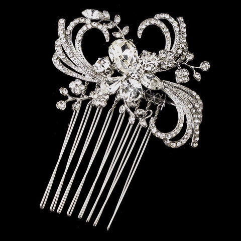 Antique Silver Clear Crystal & Rhinestone Ribbon Swirl Bridal Wedding Hair Comb 926