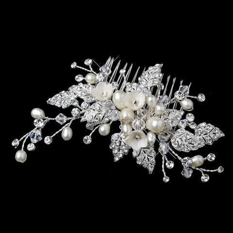 Diamond White Flower & Freshwater Pearl Bridal Wedding Hair Comb with Silver Pave Rhinestone Leaves 9657
