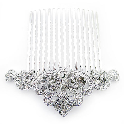 Rhodium Silver Vintage Rhinestone Bridal Wedding Hair Comb 9929