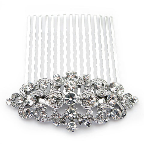 Rhodium Silver Vintage Rhinestone Bridal Wedding Hair Comb 9932
