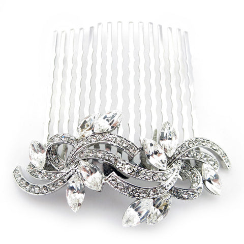 Rhodium Silver Clear Vintage Swirl Bridal Wedding Hair Comb 9937