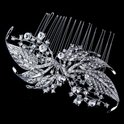 Vintage Bridal Wedding Hair Comb 9981 Antique Silver