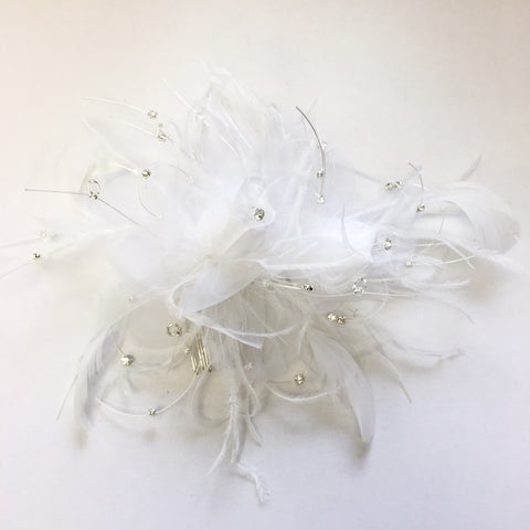 White Sheer Organza Feather Fascinator Bridal Wedding Hair Comb with Clear Rhinestones & Beads