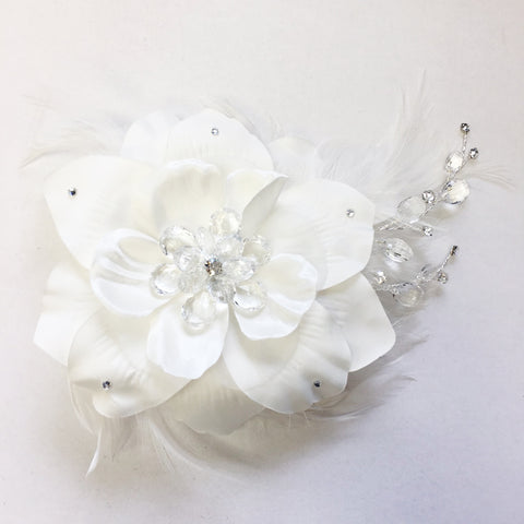 Diamond White Matte Satin Feather Fascinator Bridal Wedding Hair Comb with Clear Rhinestones & Crystals