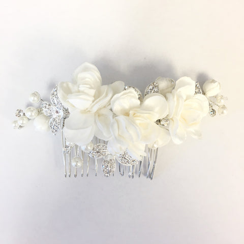 Ivory Fabric Flower Bridal Wedding Hair Comb with Rhinestones & Pearls