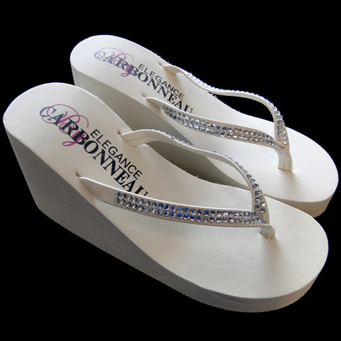 Crystals ~ Ivory or White High Wedge Bridal Wedding Flip Flops with Crystal Accented Suedene Strap